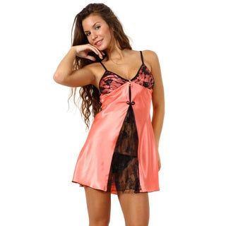 Miorre Coral Satin Chemise with Sheer Lace Opening