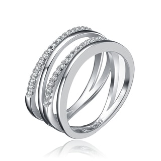 Collette Z Sterling Silver Cubic Zirconia Overlapping Ring
