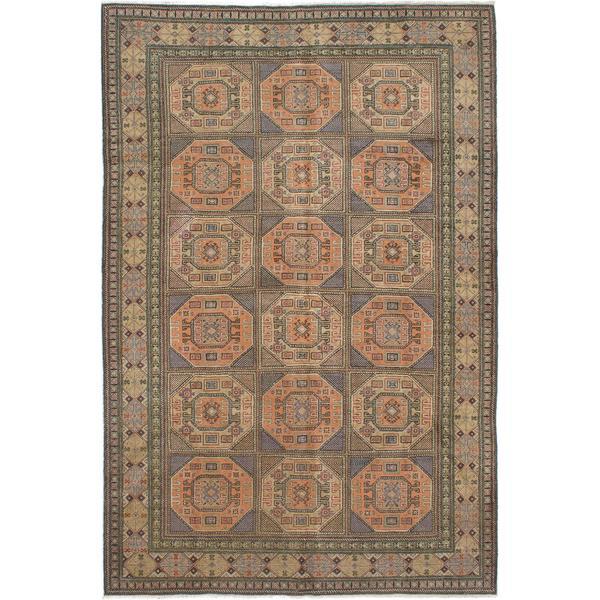 ecarpetgallery Hand-knotted Keisari Vintage Brown, Green Wool Rug - 6'5 x 9'6