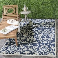 Safavieh Indoor/ Outdoor Amherst Navy/ Ivory Rug - 3' x 5'