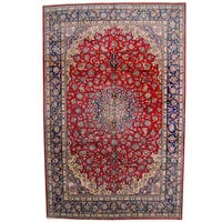 Herat Oriental Persian Hand-knotted 1960s Semi-antique Isfahan Wool Rug - 10'5 x 16'2