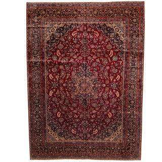 Herat Oriental Persian Hand-knotted 1940s Semi-antique Kashan Wool Rug (10'6 x 15')