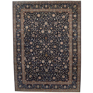 Herat Oriental Persian Hand-knotted 1950s Semi-antique Isfahan Wool Rug (11' x 14'9)