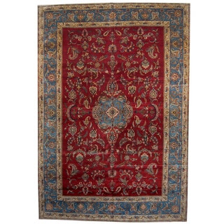 Herat Oriental Persian Hand-knotted 1940s Semi-antique Isfahan Wool Rug (10'4 x 15')