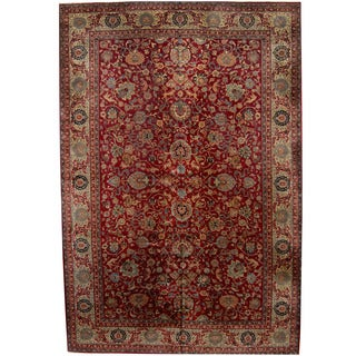 Herat Oriental Indo Hand-knotted Kashan Wool Rug (12' x 17'9)
