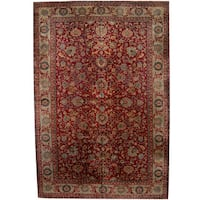Herat Oriental Indo Hand-knotted Kashan Wool Rug (12' x 17'9) - 12' x 17'9