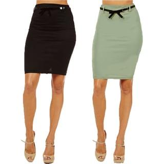 Women's High Waist Black/ Mint Pencil Skirt (Pack of 2)