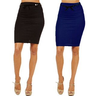 Women's High Waist Black/ Navy Pencil Skirt (Pack of 2)