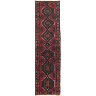 ecarpetgallery Hand-knotted Bahor Blue, Red Wool Rug (2'6 x 9'8)