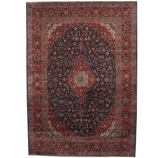 Herat Oriental Persian Hand-knotted 1960s Semi-antique Kashan Wool Rug (11' x 16')