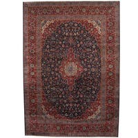 Herat Oriental Persian Hand-knotted 1960s Semi-antique Kashan Wool Rug (11' x 16') - 11' x 16'