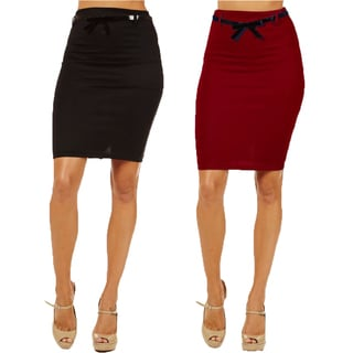 Women's High Waist Red/ Black Pencil Skirts (Pack of 2)