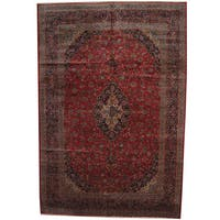 Herat Oriental Persian Hand-knotted 1960s Semi-antique Kashan Wool Rug (11' x 16'4) - 11' x 16'4