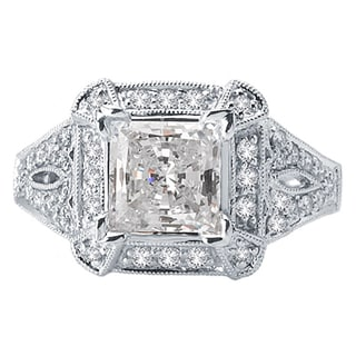 18k White Gold 5/8ct TDW Diamond and Cubic Zirconia Center Semi Mount Halo Engagement Ring (H-I, SI1-SI2)