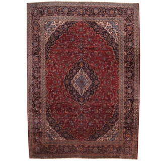 Herat Oriental Persian Hand-knotted 1960s Semi-antique Kashan Wool Rug (11'4 x 16')