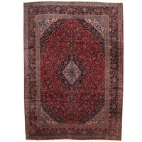 Herat Oriental Persian Hand-knotted 1960s Semi-antique Kashan Wool Rug - 11'4 x 16'