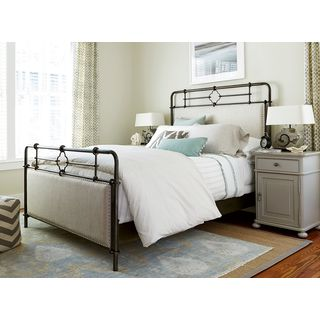 Dogwood Upholstered Metal Bed Complete in Rubbed Bronze Finish