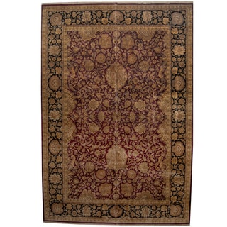 Herat Oriental Indo Persian Hand-knotted Khorasan Wool Rug (12'3 x 18')