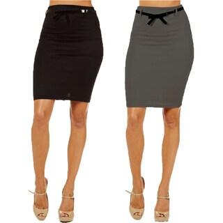 Women's High Waist Black/ Dark Grey Pencil Skirts (Pack of 2)