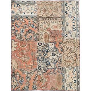 ecarpetgallery Hand-knotted Sunwash Patch Beige, Brown Wool Rug