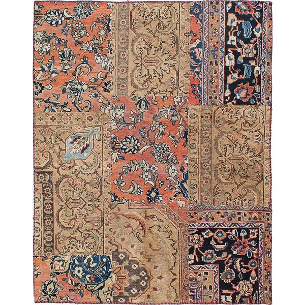 ecarpetgallery Hand-knotted Sunwash Patch Beige, Brown Wool Rug - 5'0 x 6'5
