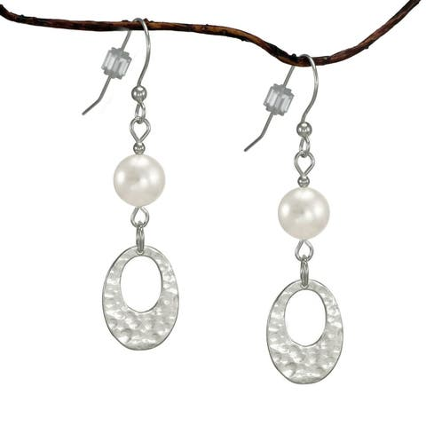 Handmade Jewelry by Dawn Oval Hammered White Crystal Pearl Sterling Silver Earrings (USA)