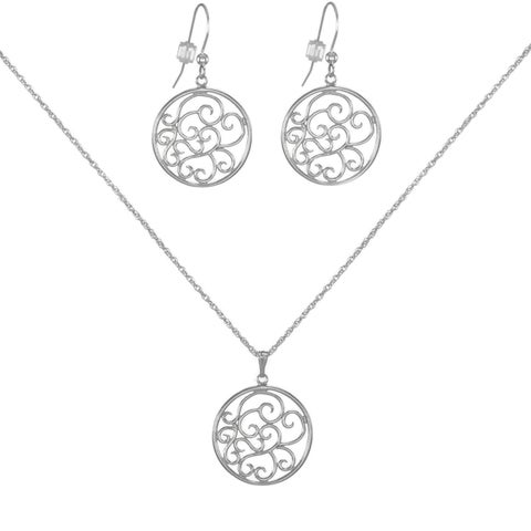 Handmade Jewelry by Dawn Round Filigree Scroll Sterling Silver Necklace And Earring Set