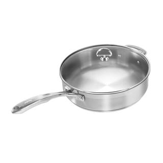 Chantal Induction 21 Steel 5 Quart Ceramic Coated Saute Skillet with Glass Lid