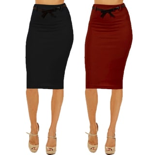 Women's High Waist Below Knee Pencil Skirt (Pack of 2)