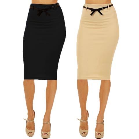 Women's High Waist Below Knee Black/ Khaki Pencil Skirts (Pack of 2)