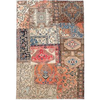ecarpetgallery Hand-knotted Sunwash Patch Beige, Brown Wool Rug (6'5 x 9'4)