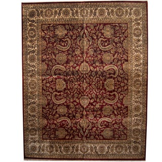 Herat Oriental Indo Persian Hand-knotted Khorasan Wool Rug (12' x 15'3)