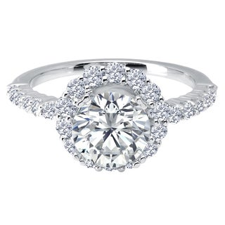 14k White Gold 3/4ct TDW Diamond and Cubic Zirconia Center Stone Semi Mount Halo Engagement Ring (H-I, SI1-SI2)