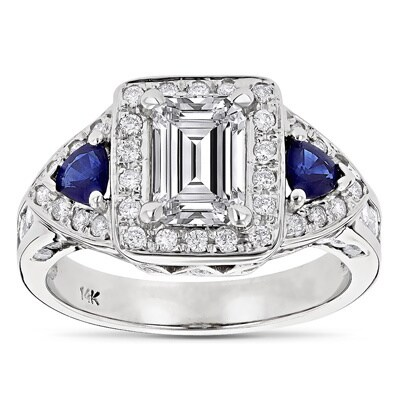 Luxurman 14k Gold 2 1/2ct TDW Emerald-cut Diamond and Sapphire Engagement Ring (H-I, SI1-SI2)