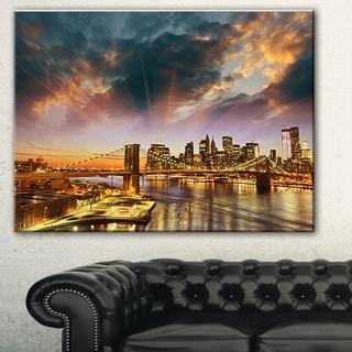 Manhattan at Winter Sunset' Cityscape Photo Canvas Print