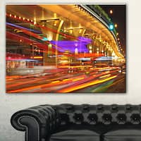 Colorful Traffic Trails in City' Cityscape Photo Canvas Print - Red