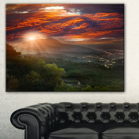 Designart 'Guanyin Mountain Sunrise Taipei' Photo Canvas Print - Orange