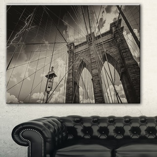 Upward View of Brooklyn Bridge' Cityscape Photo Canvas Print