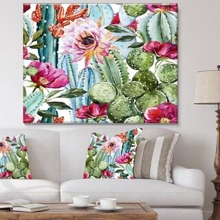 Cactus Pattern Watercolor' Floral Digital Art Canvas Print - Green