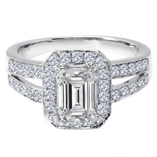 14k White Gold 7/8ct TDW Diamond and Cubic Zirconia Center Stone Semi Mount Halo Engagement Ring (H-I, SI1-SI2)