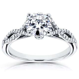 Annello by Kobelli 14k White Gold 1 1/6ct TCW Forever Brilliant Moissanite and Diamond Antique Ring