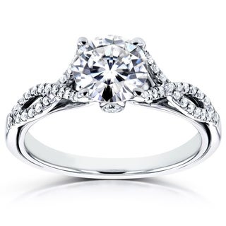Annello by Kobelli 14k White Gold 1 1/6ct TGW Moissanite (FG) and Diamond (GH) Crossover Engagement Ring