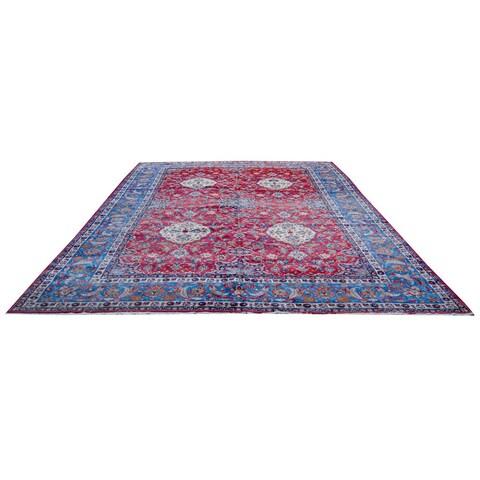 Handmade Herat Oriental Persian 1940s Semi-antique Isfahan Wool Rug - 12'6 x 19'3 (Iran)