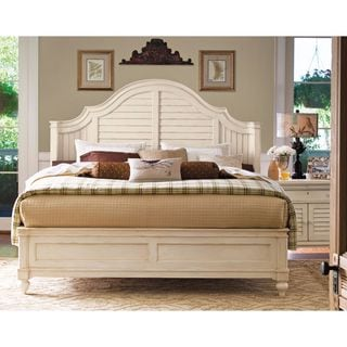 paula deen home steel complete magnolia bed in linen finish beachy bedroom furniture