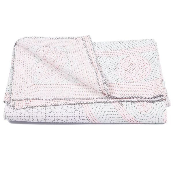 Kantha Indian Handmade Bedspread Quilt White Circle (India)