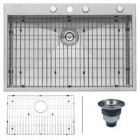 Ruvati RVH8001 16-gauge Zero-radius Stainless Steel 33-inch x 22-inch Drop-in Topmount Single-bowl Kitchen Sink