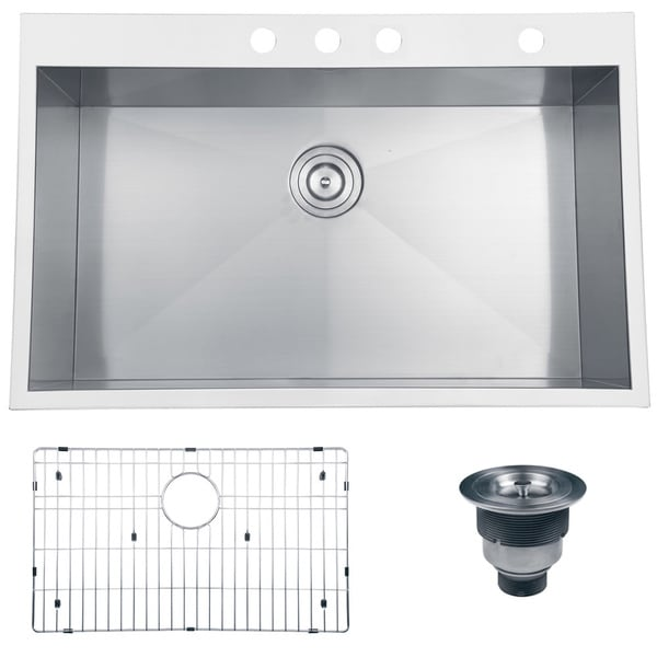 Ruvati Rvh8001 Overmount Stainless Steel Single Bowl Kitchen Sink 33 Inches X 22 Inches