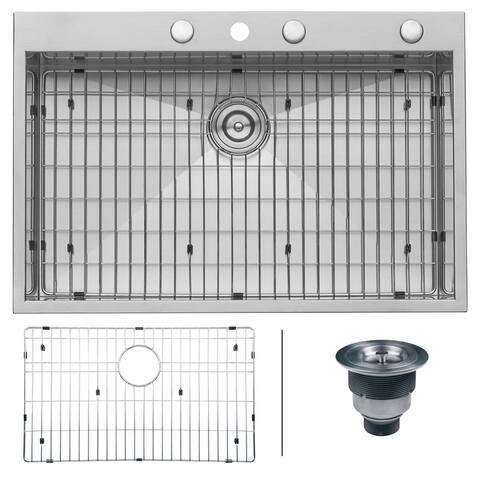 Ruvati 33 x 22 inch Drop-in Topmount 16 Gauge Zero Radius Stainless Steel Kitchen Sink Single Bowl - RVH8001