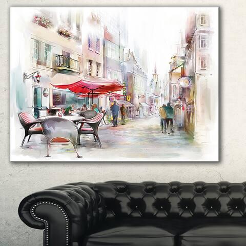 Illustrated Street Art Cityscape' Digital Art Cityscape Canvas Print - Red