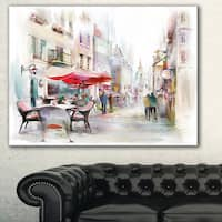Illustrated Street Art Cityscape' Digital Art Cityscape Canvas Print - Red